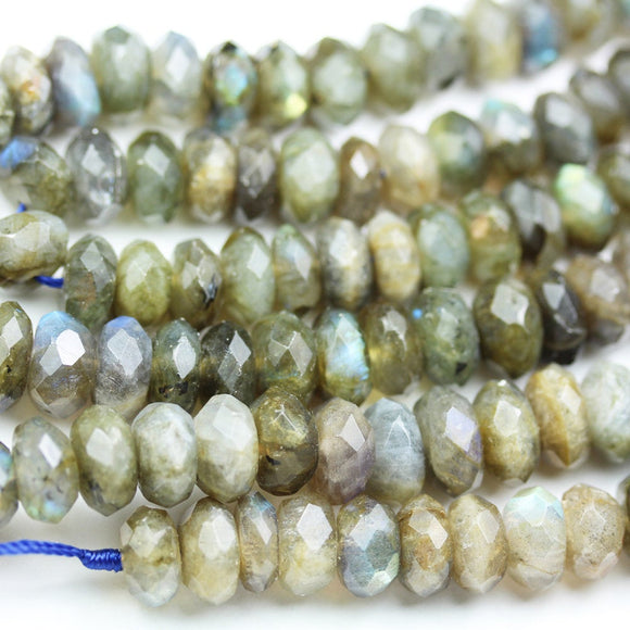 labradorite, 11-12*6mm Faceted Rondelle Gemstone Strand, One full strand , about 65beads , 1mm hole-GEM1907