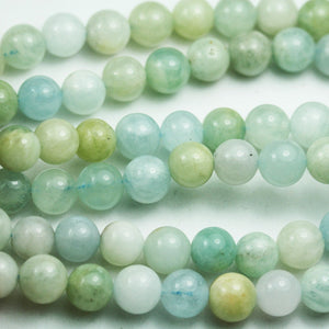 Aquamarine,8mm Round Natural Gemstone Beads, One full strand , 16 inch , 1mm hole-GEM2016