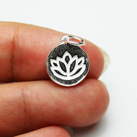 2pcs 925 Sterling Silver Jewellery findings Lotus Charm Beads , 11mm Button - FDSSB0556