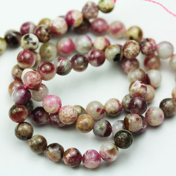 Pink Tourmaline, 6mm Pink Round Gemstone Strand, 15.5 inch , about 65 beads , 0.6mm hole-GEM1935