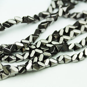 "Hematite,4mm  Faceted Rhombus Square Shape Gemstone beads, hole 1mm,16"",about 100 beads-GEM2049"