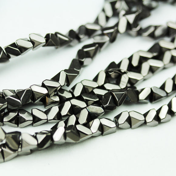 Hematite,4mm  Faceted Rhombus Square Shape Gemstone beads, hole 1mm,16