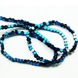 "Hematite ,3mm Hexagon Gemstone,Electroplated , Blue Color, Spacer beads, One full Strand 16"", about 140 beads-GEM2058"