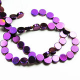 "Hematite,6mm Electroplated Purple Color Button Shape Gemstone beads, hole 1mm,16"", about 70beads-GEM2065"