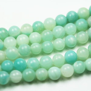 Amazonite, 8mm Round Aqua Blue Gemstone Strand, Full strand 15.5inch , about 50 beads , 0.8mm hole-GEM2081
