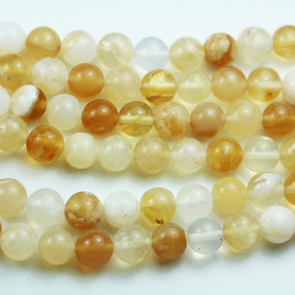 Yellow Opal, 6mm Round Gemstone Strand, 15.5inch , about 65 beads , 0.8mm hole-GEM2012