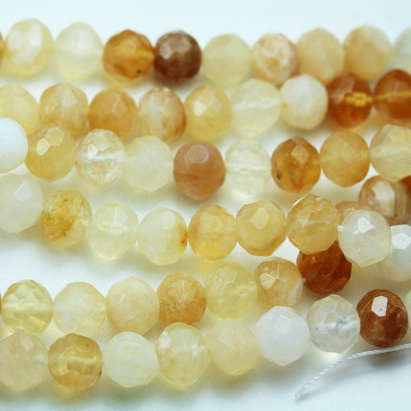 50% off Yellow Opal, 10mm Faceted Round Gemstone Strand, 15.5inch , about 40 beads , 1mm hole-GEM2011