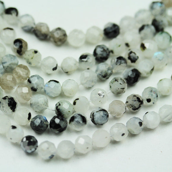 Black Rutilated Quartz ,4mm Faceted Round Gemstone Strand, 15.5 inch, 0.6mm hole, about90 beads -GEM2094