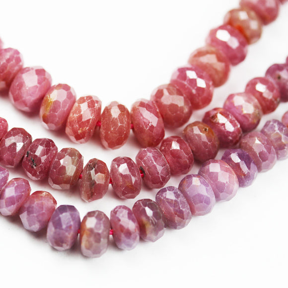 35%off Natural Ruby, 7*5mm Faceted Rondelle Jewelry Beads, One Full 16