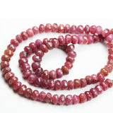 "35%off Natural Ruby, 7*5mm Faceted Rondelle Jewelry Beads, One Full 16"" Strand, about 95beads -GEM1341"