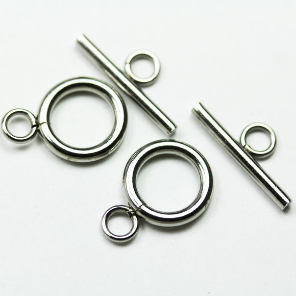 4sets Stainless steel Clasps Jewellery Findings , Toggle 12mm wide 16mm long, Tbar 18mm long, Hole3mm -FDC0332