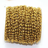 1foot Gold Color Crystal Glass Wire Wrapped Beaded Chain,Non Tarnish Brass Rosary Style Chain -WC0375