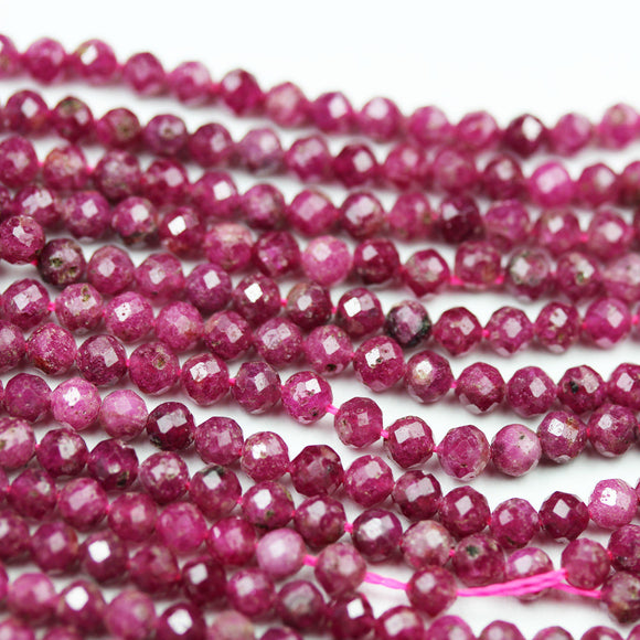 Natural Ruby,3mm Faceted Round Natural Gemstone Beads, 15.5 inch , 0.6mm hole-GEM2132