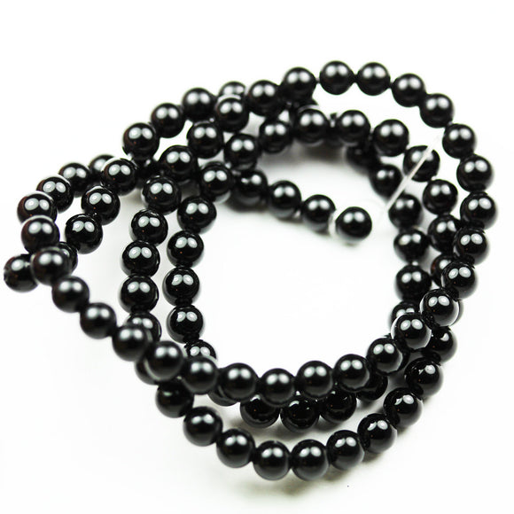 Black Tourmaline ,4.5mm Round  Shape Gemstone Beads,0.6mm hole, about 90 beads,16