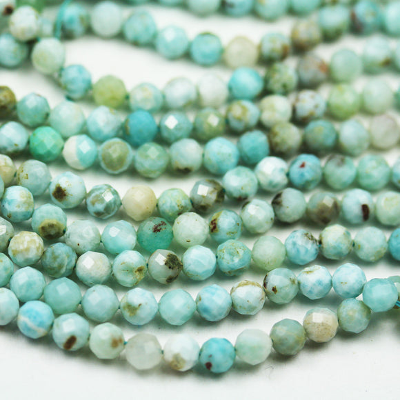50% off Dominican Larimar, 5mm Faceted Round Natural Larimar Gemstone Strands, 15.5inch, about 80 beads,0.8mm hole-GEM2147