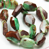 "Natural Australia Chrysoprase, 20x25mm Facetd Nugget Shape Gemstone Beads,16"", 1mm hole ,17 beads - GEM2173"