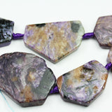 Natural Charoite, 35x25mm Nugget Shape Gemstone Beads, 16 inch , 1mm hole, about 10beads -GEM2180