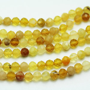 Yellow Opal, 4mm Faceted Round Gemstone Strand, 15.5inch , about100 beads , 0.6mm hole-GEM2019