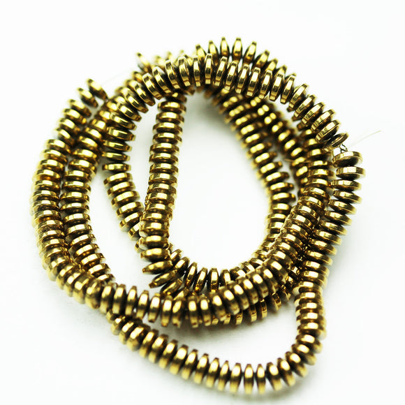 Hematite,4*1.5mm Electroplated Antique Gold Color Disco Shape Gemstone beads, hole 0.6mm,16