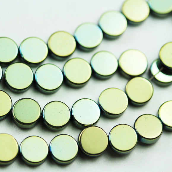 Hematite,6mm Electroplated Green Color Button Shape Gemstone beads, hole 1mm,16