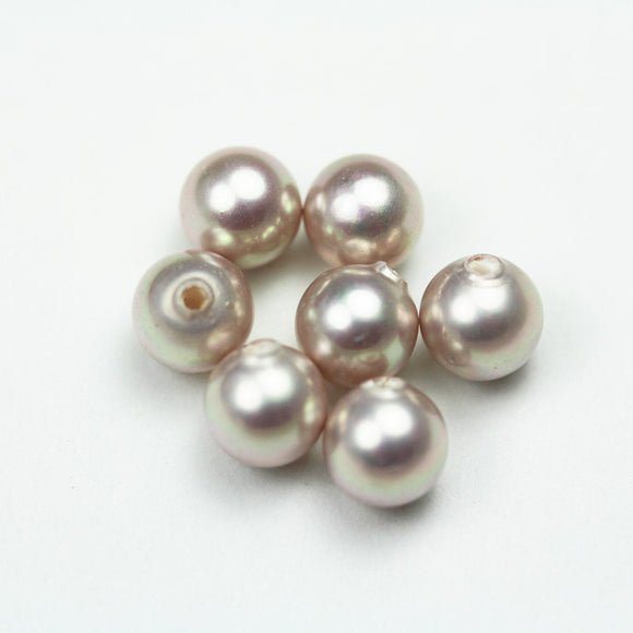 Shell Pearl, 3pairs 6mm Half Drilled Purple Round, for Making earring/Ring , hole 1mm -PLF8187