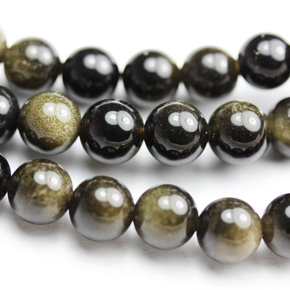 Golden obsidian,  6mm Round Natural  Gemstone Strand, One full strand ,Gold and Black color, hole 1mm-GEM1044
