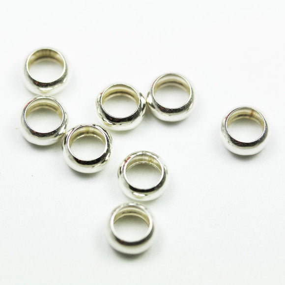8pcs 8MM 925 sterling silver Jewellery Findings Rondelle Spacers,3.5mm thick, hole 5mm. - FDSSS0425