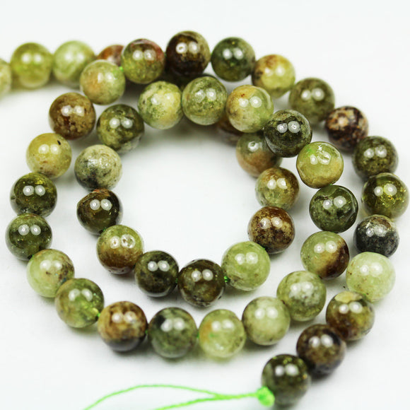 Green garnet, 8mm Green Round Gemstone Strand, 15.5inch, about50beads, 1mm hole-GEM2099