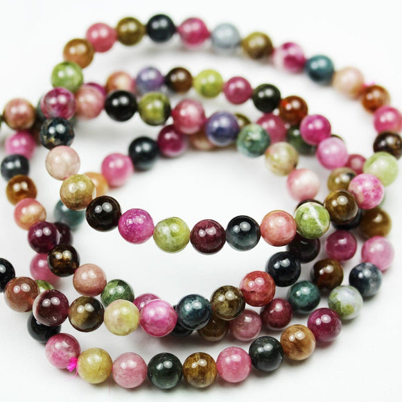 6-7mm Tourmaline ,Half strand Colorful Round Tourmaline Gemstone Beads, round, 7.5