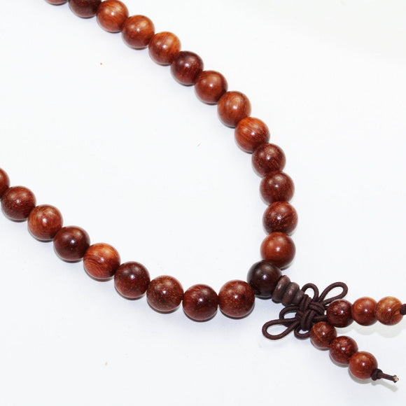 108pcs Natural RoseWood Mala Prayer Beads Necklace/Bracelet Strand, One full strand,8mm/6mm Round, -GEM1775