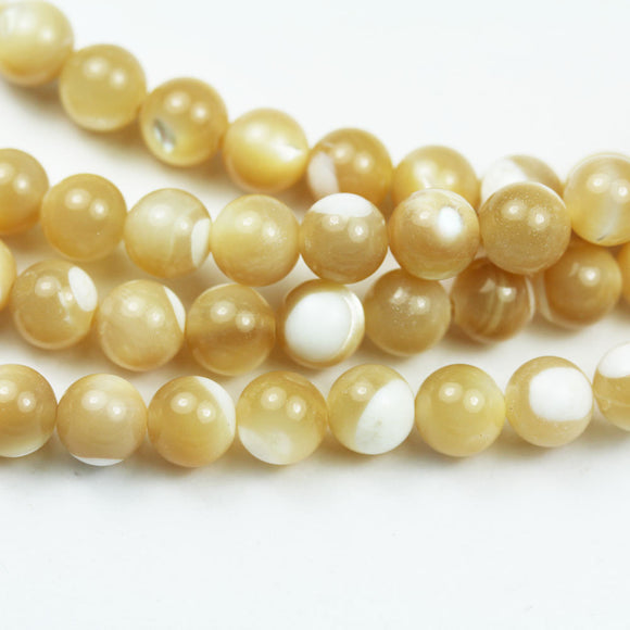 Natural Shell Beads, 6mm Round Shape , Natural Shining Cream color, about 65 beads,16