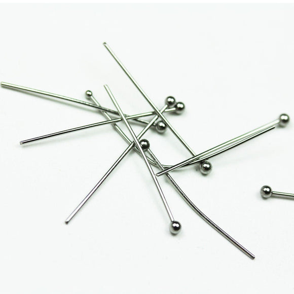 50pcs 1 inch Stainless Steel Jewellery findings Head Pin w/ball End ,27mm,23gauge,  ball2mm  - FDP0029