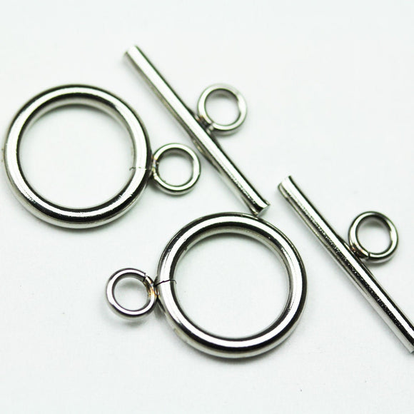 4sets Stainless steel Clasps Jewellery Findings , Toggle 14mm wide 19mm long, Tbar 20mm long, Hole3mm -FDC0333