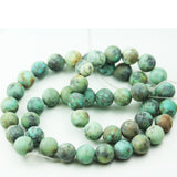 Matte Africa Turquoise, 8mm  Round Gemstone Strand,Green &Brown color, 15.5 inch, hole1mm-GEM1729