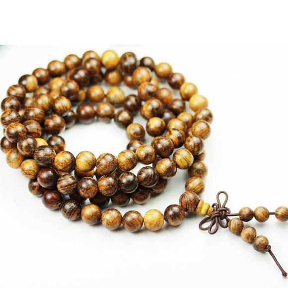 108pcs Natural Tiger Skin Sandalwood Mala Prayer Beads Necklace/Bracelet Strand, One full strand,8mm/6mm Round, -GEM1780