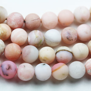 "Matte Pink Opal, 10mm Round Gemstone Beads,15.5"", 1mm hole, about 40 beads -GEM2159"