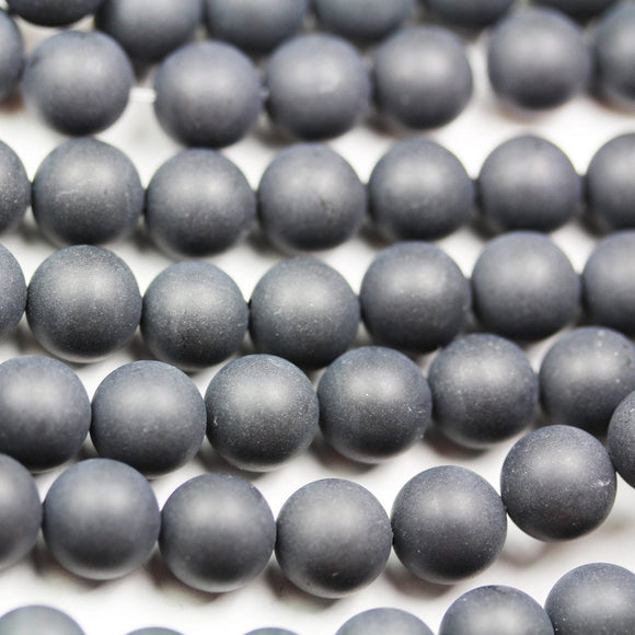 Matte Black Onxy, 10mm Round   Gemstone Beads Strand, One full strand   hole 1mm, 16 inch, about 40beads -GEM1843