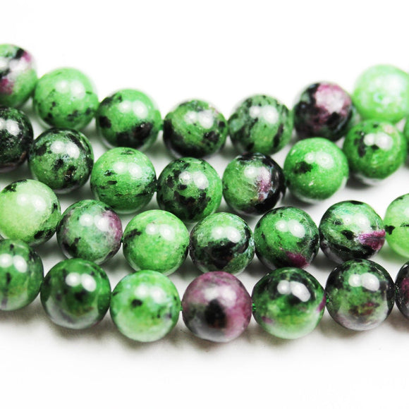 Natural Ruby Zoisite, 8mm Round Gemstone Beads, One full strand, about 50beads,16