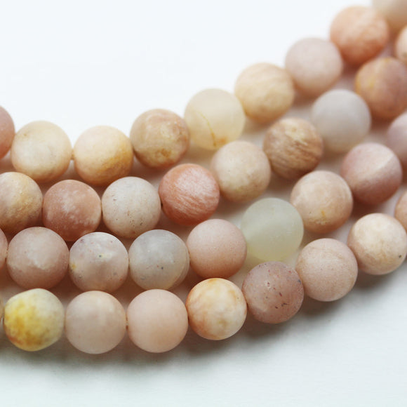 Sunstone, 6mm Matte Natural Peach Color Gemstone,One full strand,15.5inch, hole 0.6mm-GEM1659