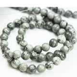 Grey Picture Jasper, 10mm Round Gray  Gemstone Beads,One full strand  15.5inch, about 40 beads, 1mm hole-GEM1890