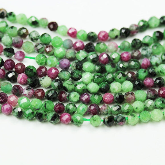 Natural Ruby Zoisite,  2.5mm Faceted Round,One full strand , about 150beads,16