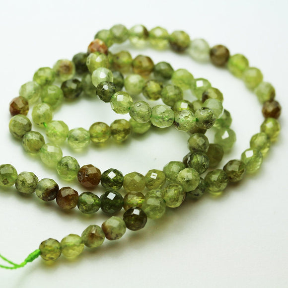 Green garnet, 3mm Faceted Round Green Garnet Gemstone Strand,hole 0.6mm-GEM0928