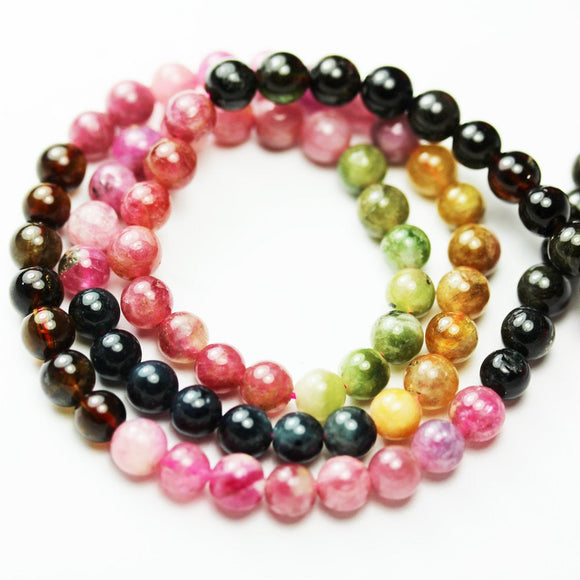 Full strand 5.5mm Colorful Tourmaline Gemstone Beads, 16