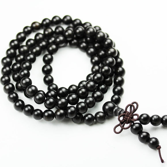 108 beads, 8mm/6mm Natural Black Sandalwood Mala Prayer Beads Necklace/Bracelet Strand, One full strand,8mm/6mm Round, -GEM1776