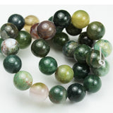 Indian Agate, 10mm Round Natural Gemstone Strand,One full strand , Green&Brown, 15inch-GEM1346