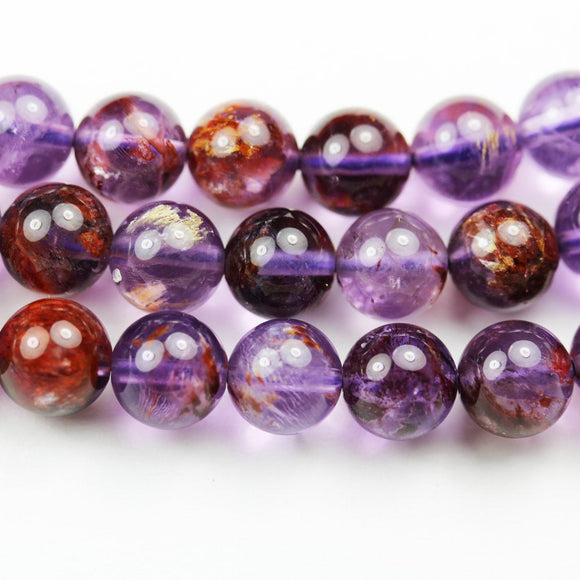 Super seven - 8mm Genuine Cacoxenite amethyst ,Round  Gemstone Beads One full strand,about 50pcs beads , 15.5