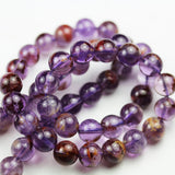 "Super seven - 8mm Genuine Cacoxenite amethyst ,Round  Gemstone Beads One full strand,about 50pcs beads , 15.5""-GEM1677"