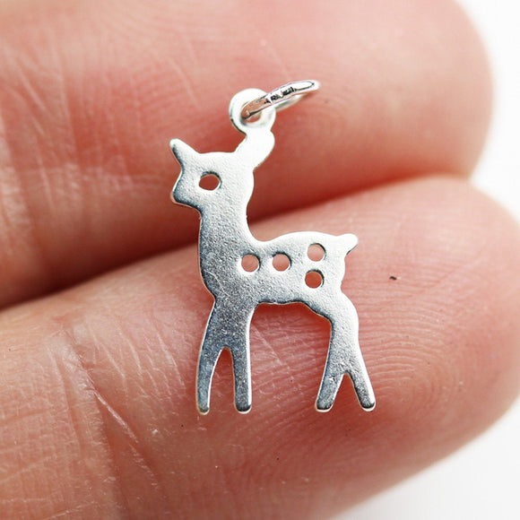 5pcs 925 Sterling Silver Jewellery findings Charm Beads ,Deer charm, 15*9mm,with 6mm closed ring - FDSSB0579