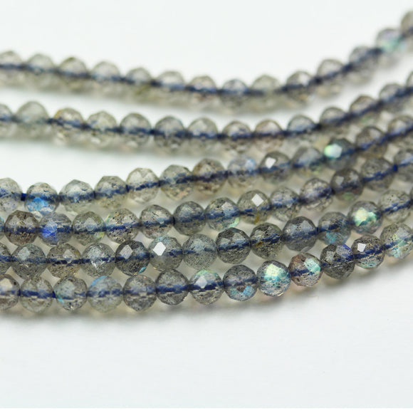 labradorite, 3mm Faceted Rondelle Gemstone Strand, One full strand , about 150beads , 0.6mm hole-GEM1912