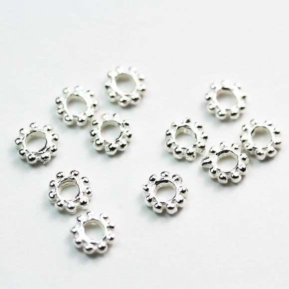 8pcs 6.5mm 925 sterling silver,Jewellery Findings Daisy Spacers 1.7mm thick, hole 2.5mm. - FDSSS0428